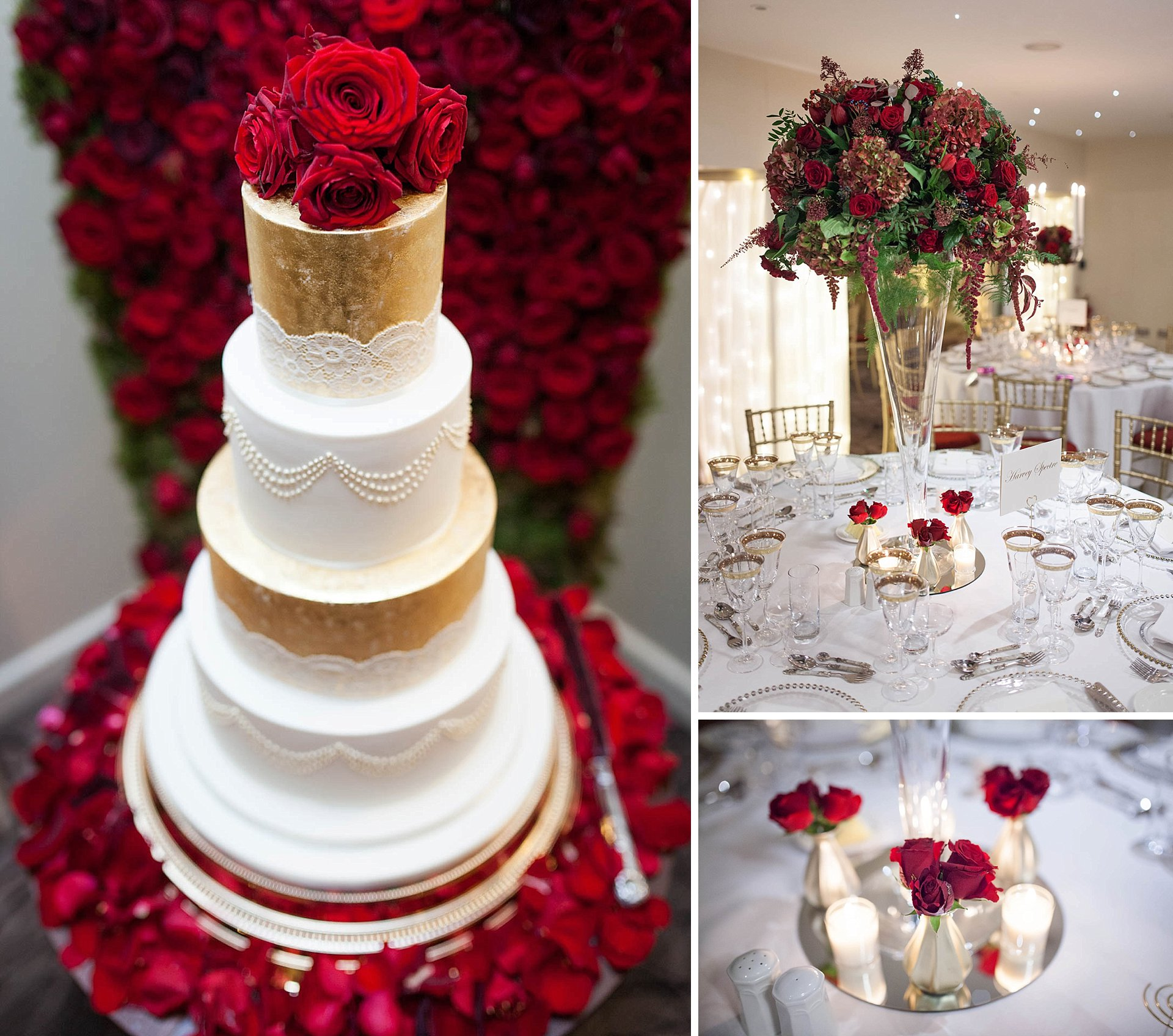 Wedding cake and red roses