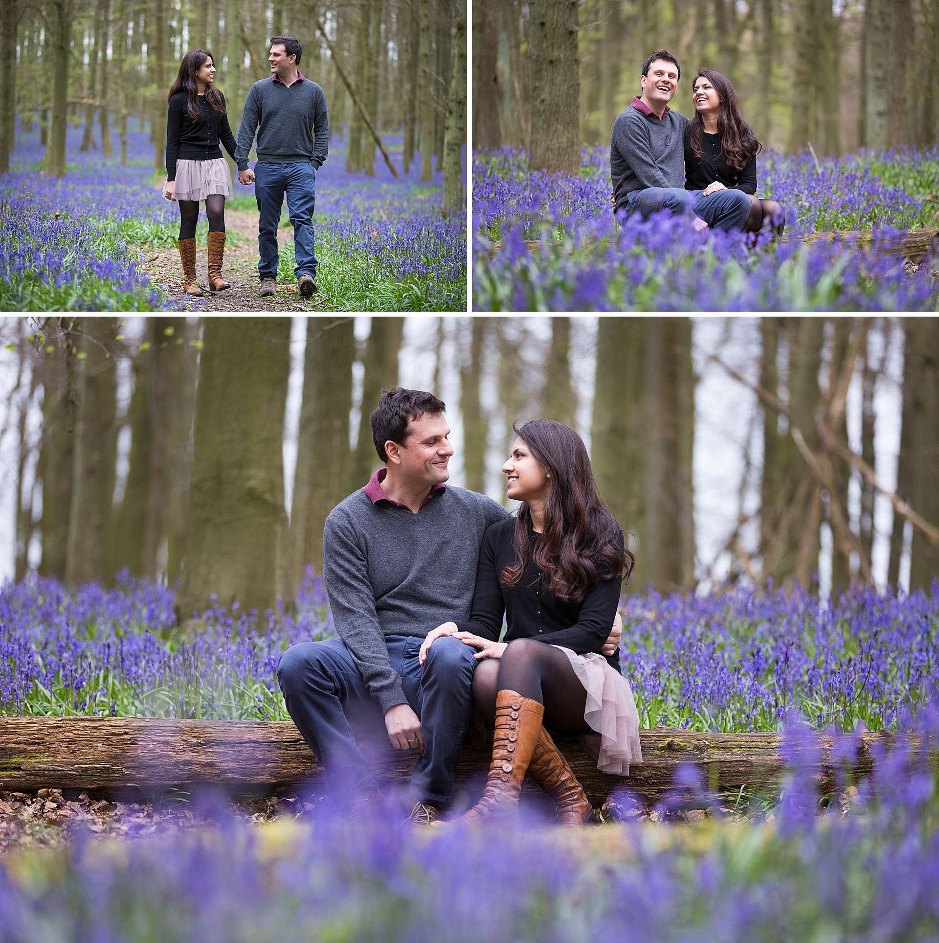 Nimi and Vineet's Bluebell Engagement Shoot
