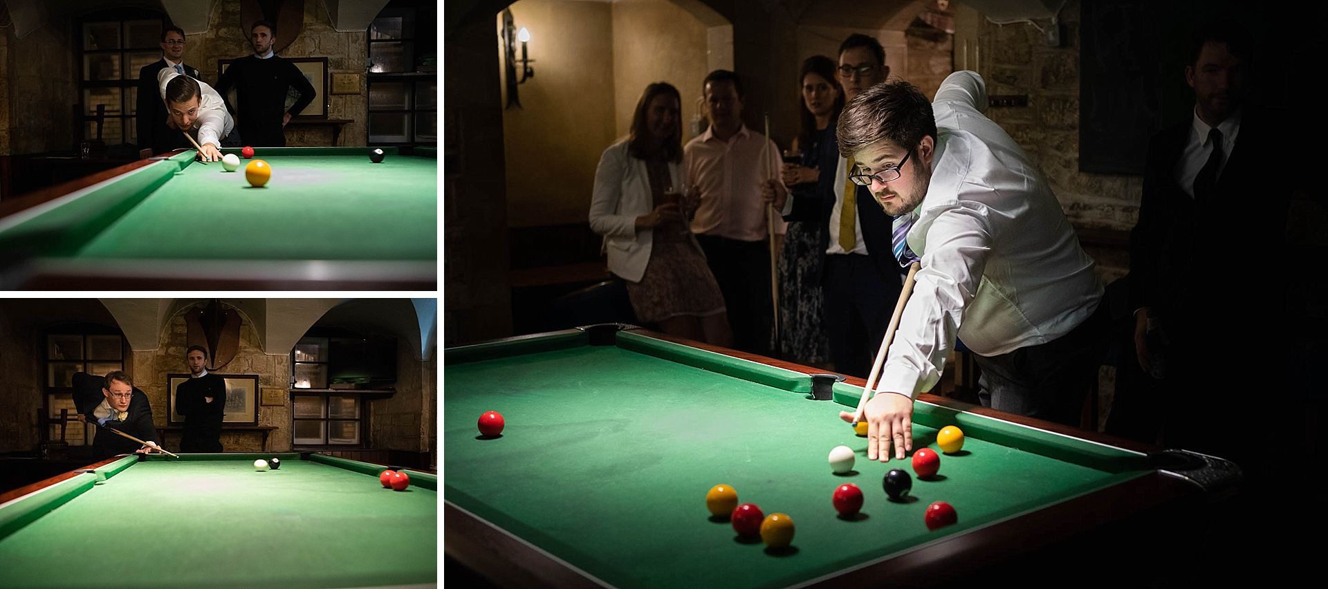 Wedding guests playing snooker