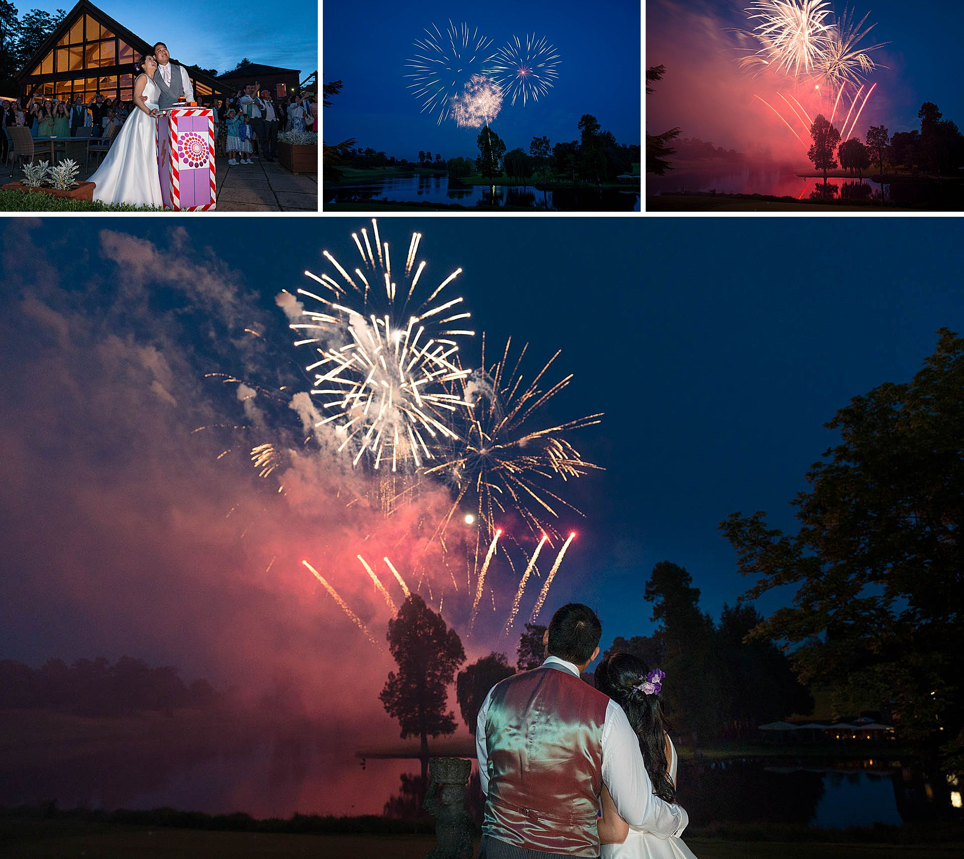 Wedding fireworks at Brocket Hall